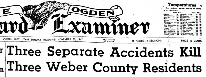 PETERSON, Darrell Skeen, accident, first article, heading, The Ogden Standard Examiner Sun Nov 23 1947, heading