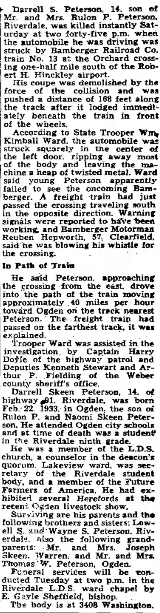 PETERSON, Darrell Skeen, accident, first article, main part, The Ogden Standard Examiner Sun Nov 23 1947