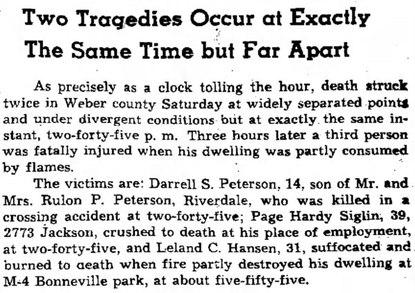 PETERSON, Darrell Skeen, accident, first article, The Ogden Standard Examiner Sun Nov 23 1947