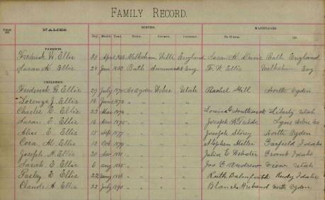 FWE & SKD family group sheet