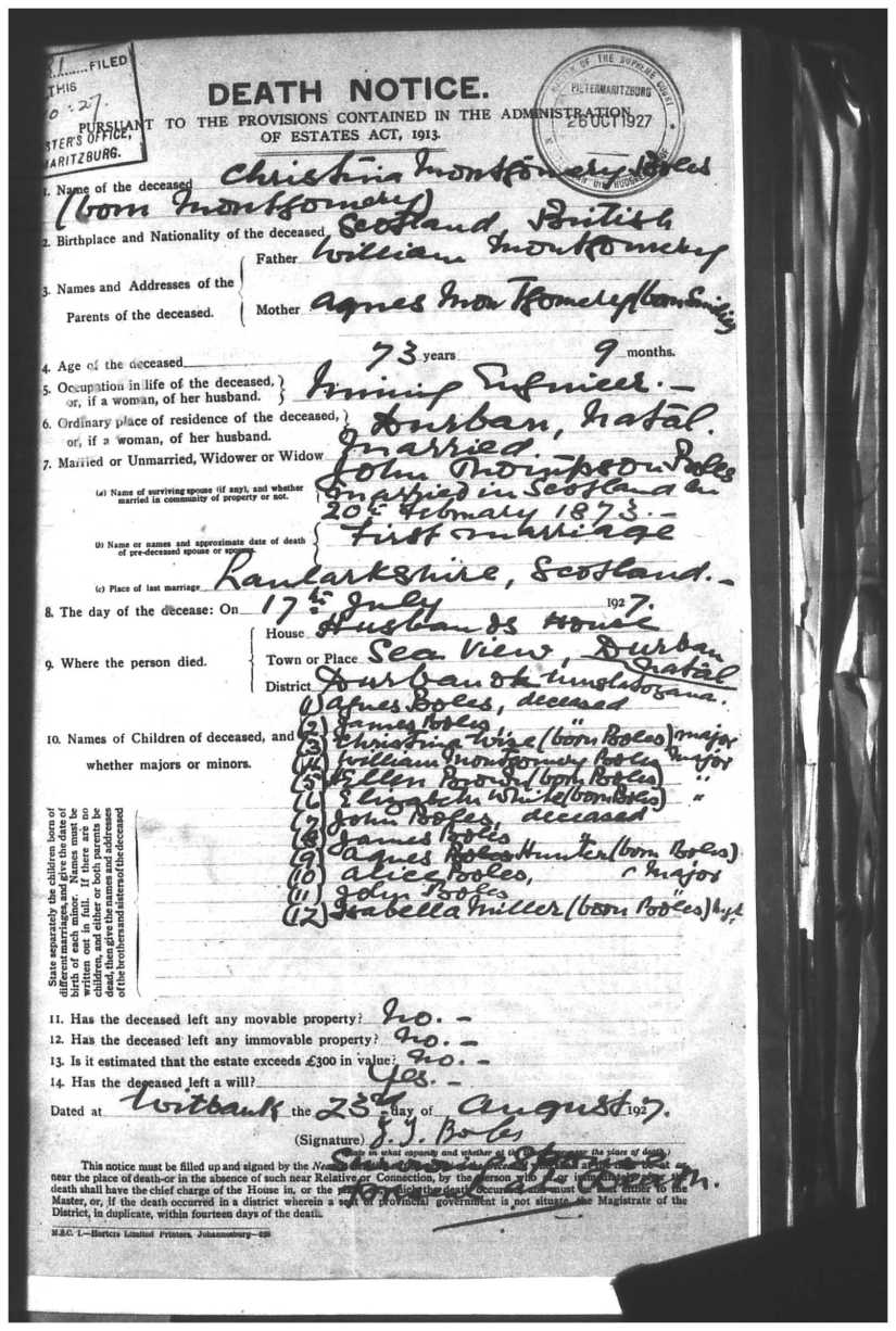 MONTGOMERY, Christina, 1927 Estate File