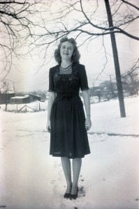 ELLIS, Mary Margaret, wearing black sequined dress in snow - smaller