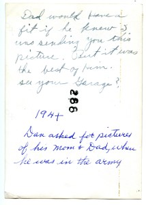 COTELLO, John, 1940s, sent to Dan in the Army - photo back