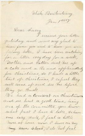 ELLIS, Frederick William letter to Susan Kaziah Davis, 1 January 1887, page 1