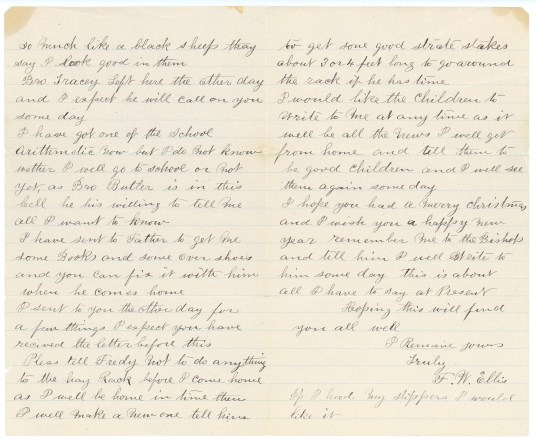 ELLIS, Frederick William letter to Susan Kaziah Davis, 1 January 1887, page 2-3