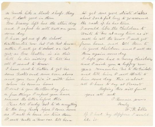 ELLIS, Frederick William letter to Susan Kaziah Davis, 1 January 1887, page 2-3
