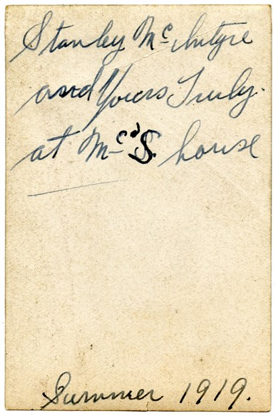 DUVAL, Francis Henry and Stanley McIntyre, Summer 1919 - photo back