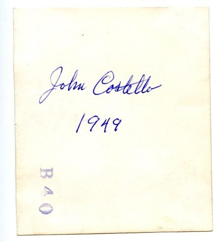 COSTELLO, John, by truck, 1949 - photo back