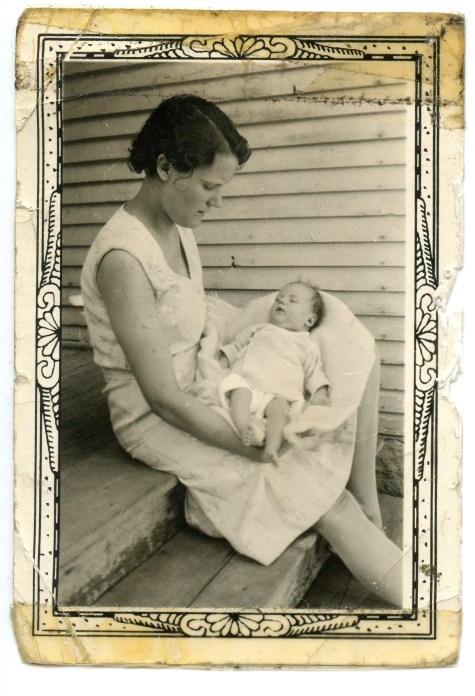 DUVAL, Deane being held by her mother, July 1932, 1 month old - original