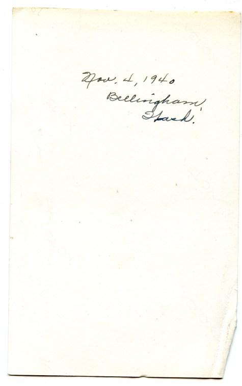DUVAL, Estelle & Frank D, 4 November 1940, Bellingham, WA, photo back