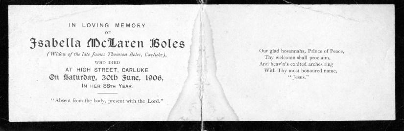Isabella Mclaren b 1818 Death Notice Interior