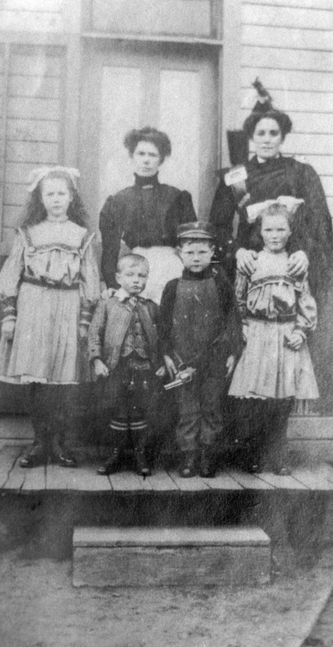 Catherine Brown with children and Maggie Douglas