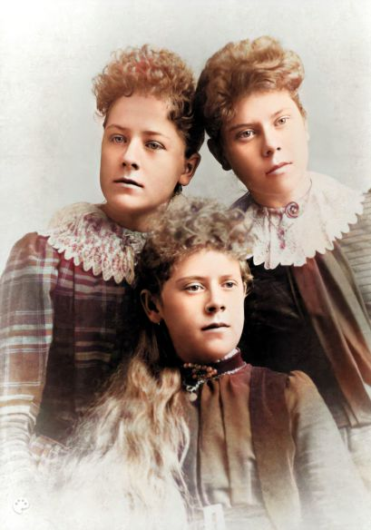 Jane Zina Petrina Folkman with two sisters enhanced with Remini-Colorized