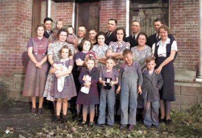 Joseph & Petrina Skeen descendants, Colorized