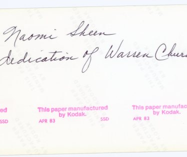 SKEEN, Naomi, dedication of Warren Church, back