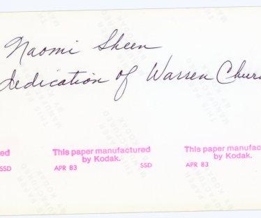 SKEEN, Naomi, dedication of Warren Church, back