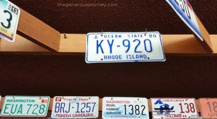 Licence plate tacked to rafter © Paul H. Byerly