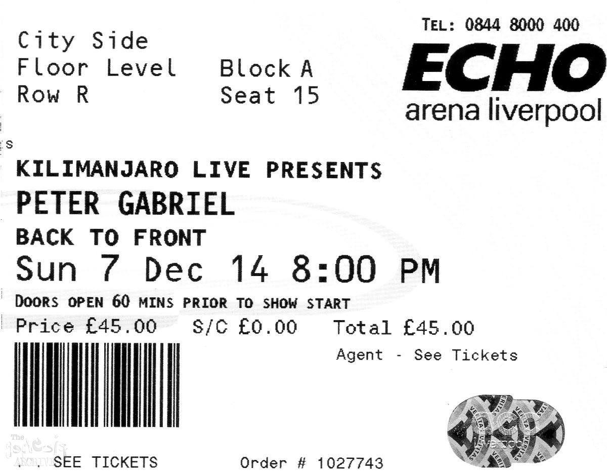 Ticket – PG – Echo Arena – Liverpool – 7th December