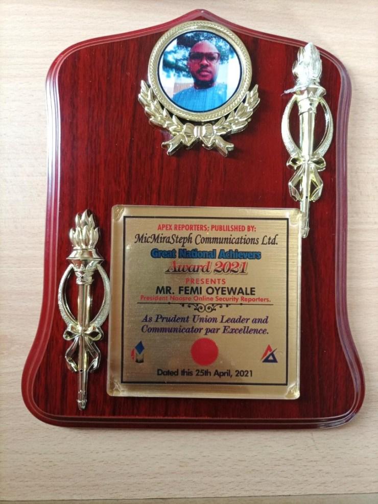 JUST IN: NAOSRE President, Femi Oyewale, Bags Leadership Award