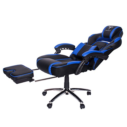 pu leather office chair sonoma anti gravity review topsky high back racing style executive computer gaming ergonomic reclining design with lumbar cushion footrest and headrest 0 4