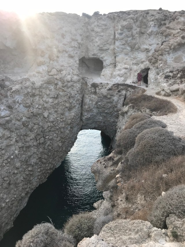 Canal with small cave at Papafragas Beach, Milos, Greece.