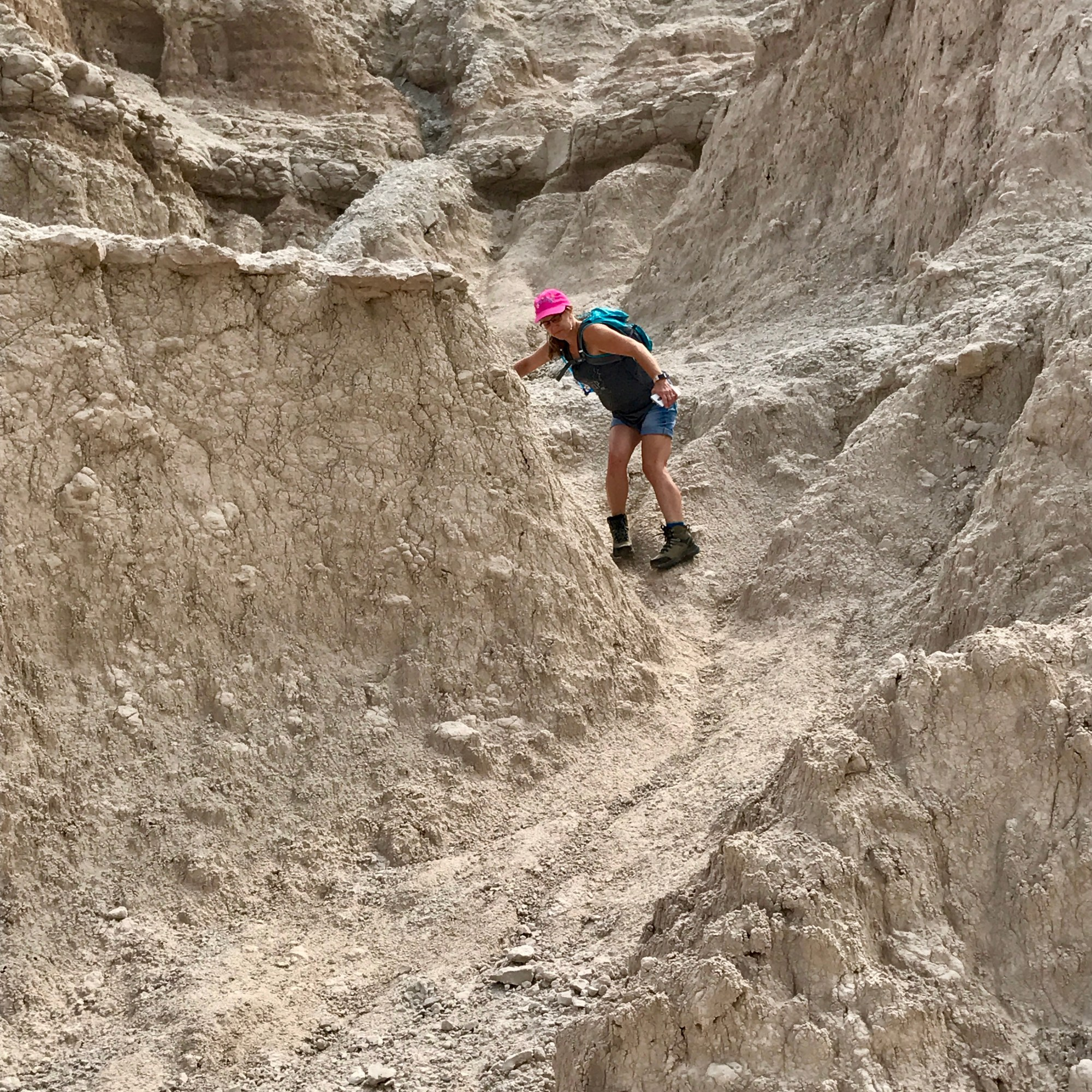 Climbing around the Badlands, South Dakota