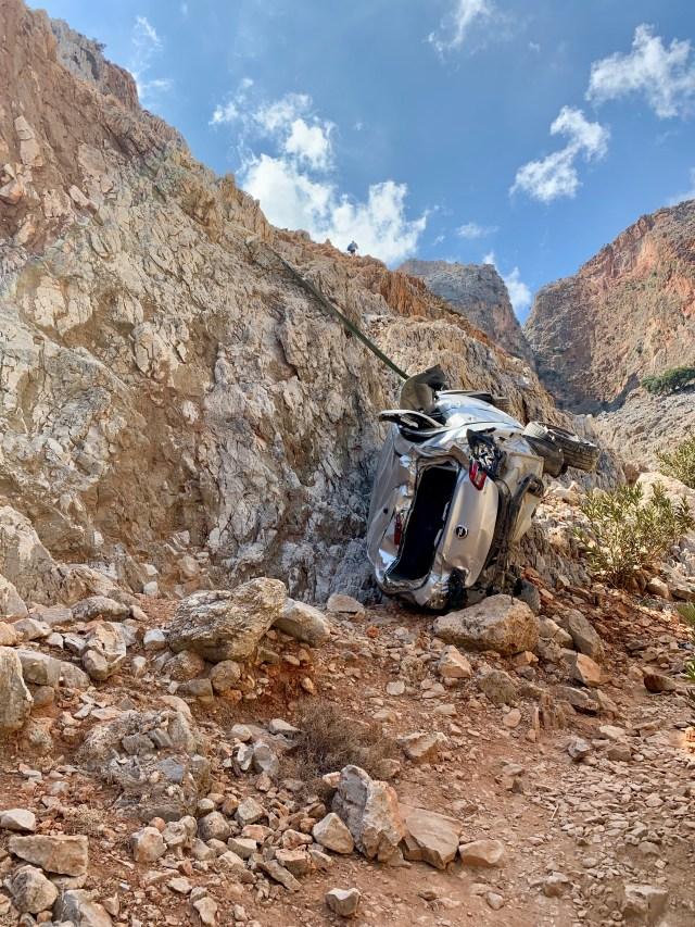 Car fallen from cliff