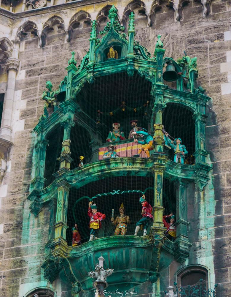 The Munich Glockenspiel at the Rathaus on Marienplatz in Munich, Germany