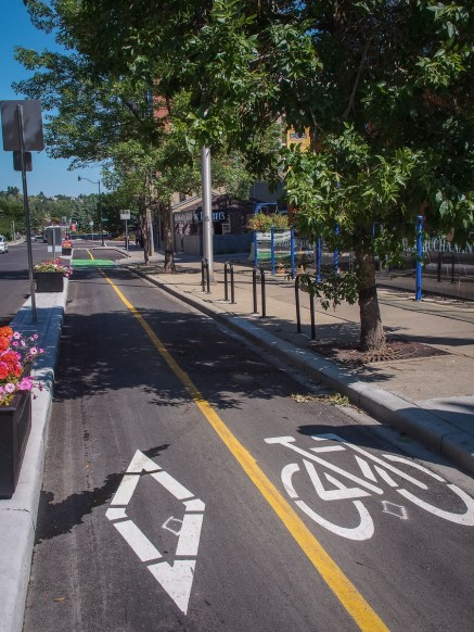 "We tried out the new 7th Street cycle path in downtown Calgary before hopping on the LRT with our bikes for the return ""ride""."