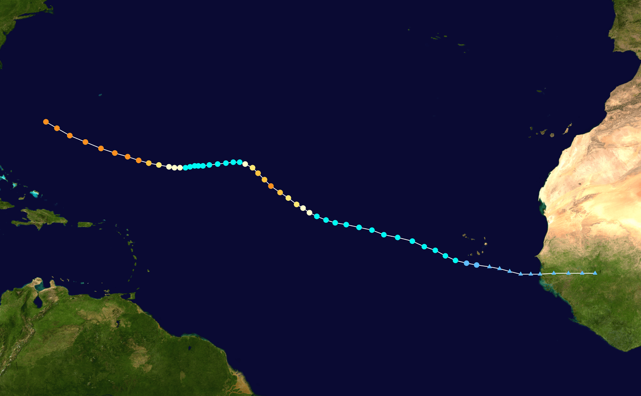 Map plotting the track and intensity of the storm, according to the Saffir–Simpson scale