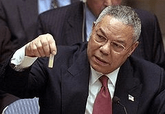 Colin Powell holding a model vial of anthrax