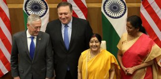 The signing of COMCASA agreement between the US and India