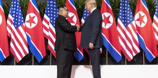 Trump and Kim Shaking Hands