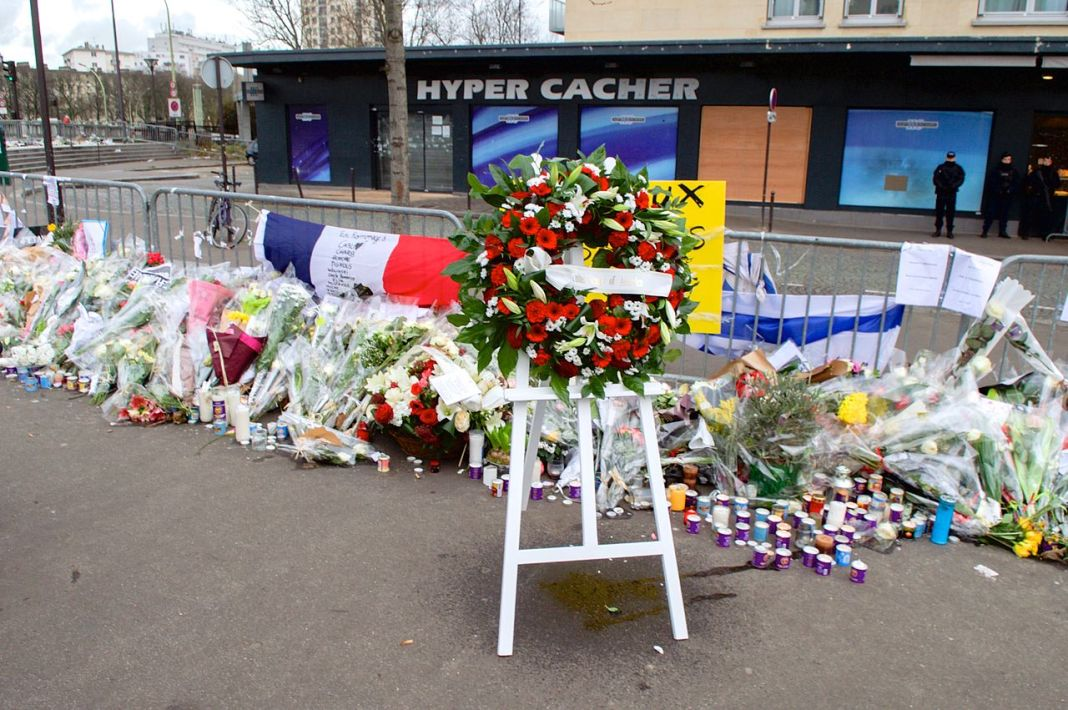 The Wreath Laid by Secretary Kerry and French Foreign Minister Fabius Is Pictured Outside the Hyper Cacher Kosher Market in Paris