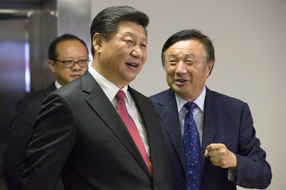 Founder of Huawei Ren Zhengfei with Chinese President Xi Jinping