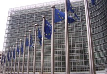 EU flags in front of the European Commission