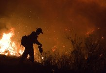 Fire crew member fighting Poomacha wildfire in California