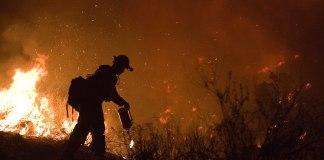 Fire crew member fighting Poomacha wildfire in California