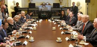 PN Modi and the President Donald Trump at delegation level talks in White House