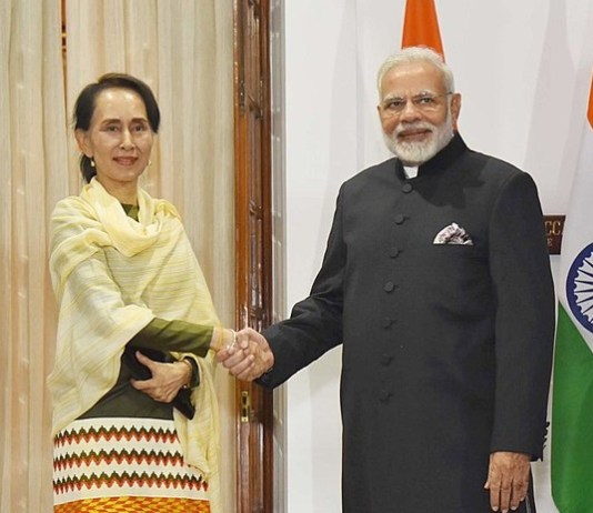 PM Narendra Modi and Aung San Suu Kyi