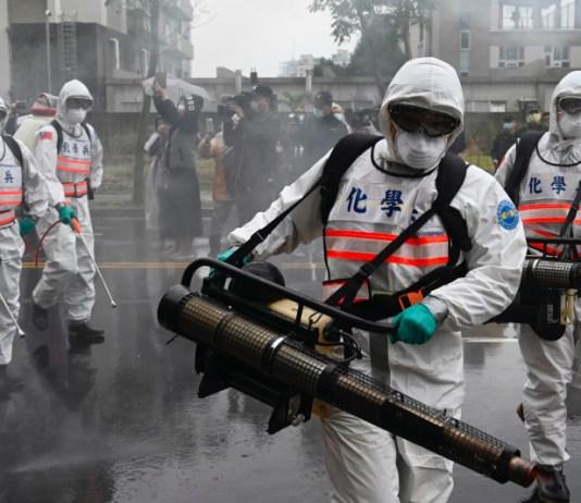 Soldiers spraying disinfectant to kill coronavirus