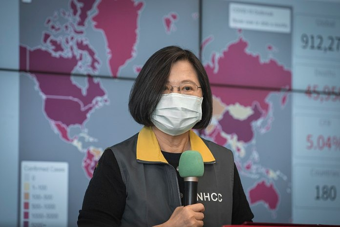 President Tsai Ing-wen inspects the Central Epidemic Command Center
