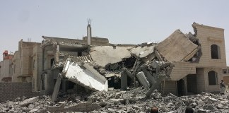 Destroyed house in the south of Sanaa