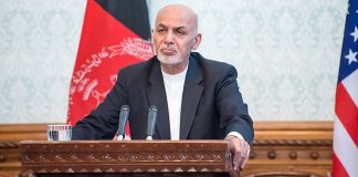 Ashraf Ghani addresses the press at the Presidential Palace