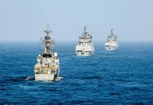 The Indian Navy Corvettes in formation during Malabar Exercise