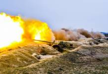 Azerbaijan military artillery firing