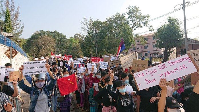 Mass Protest against military coup in Myanmar