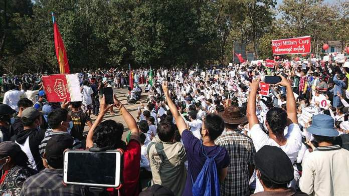 Protest against military coup in Myanmar