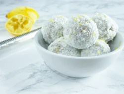 4-Ingredient, no bake Coconut Lemon Fat Bombs in 10 minutes: perfect for an end of meal dessert! thegestationaldiabetic.com