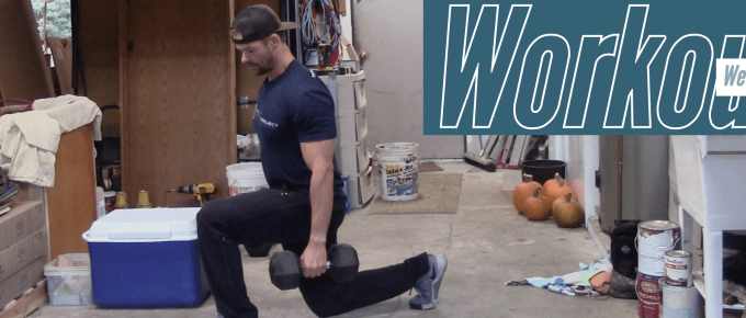 Dumbbell Dilemma by Joe Bauer doing lunges in the garage